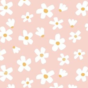 Small // Daisy garden Pink, white and mustard yellow