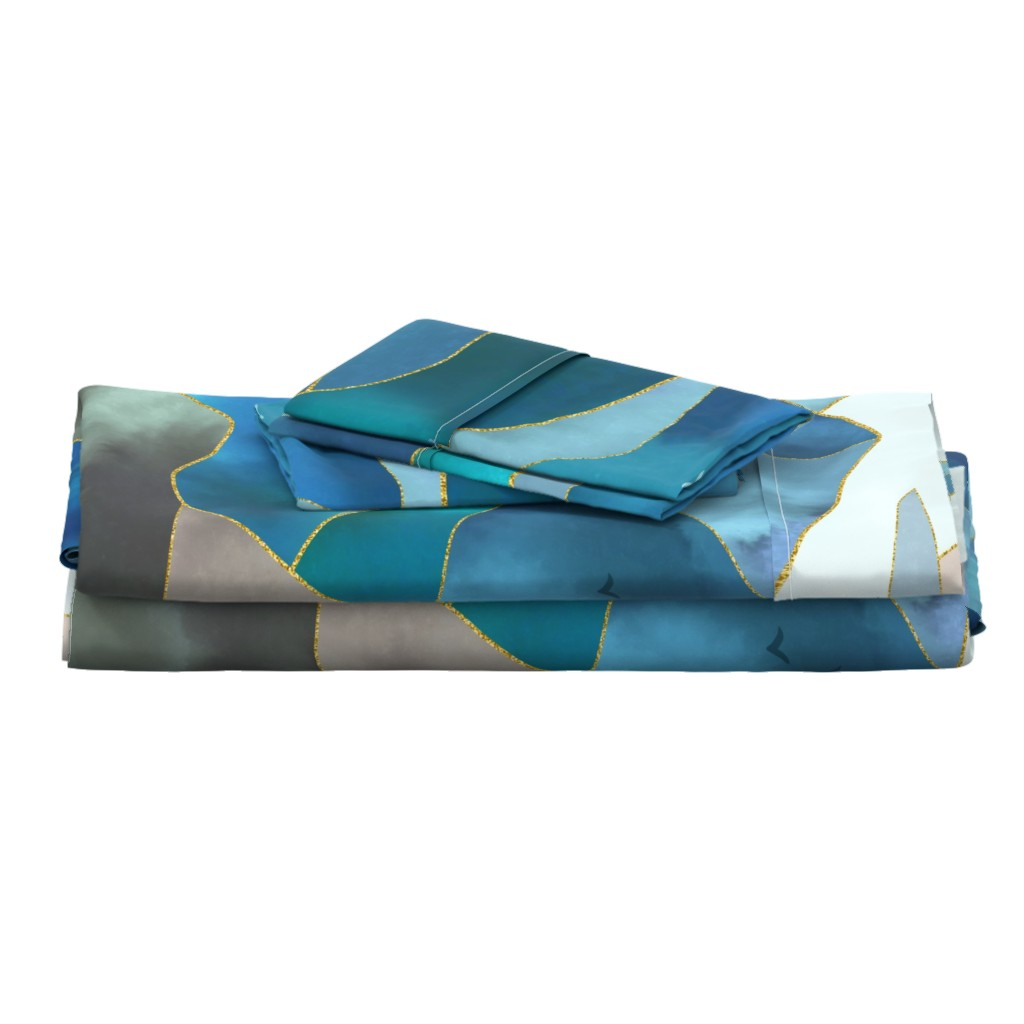 Langshan Full Bed Set featuring Watercolor Abstract Mountains by nadyabasos