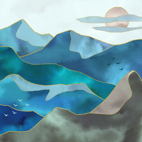 Watercolor Abstract Mountains tapestry