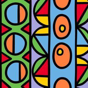 whimsical and colorful geometric stripe jumbo/large scale