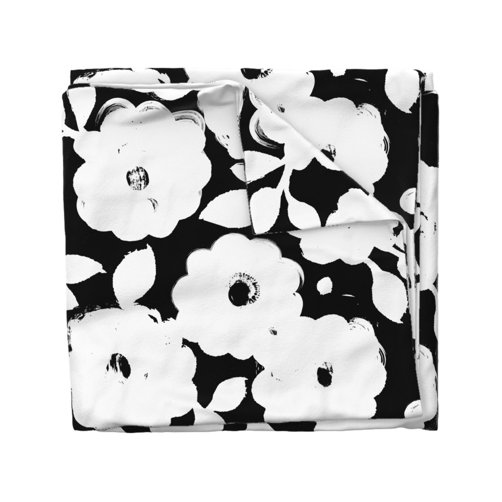 Wyandotte Duvet Cover featuring Painted Flowers-black and white-jumbo by ottomanbrim