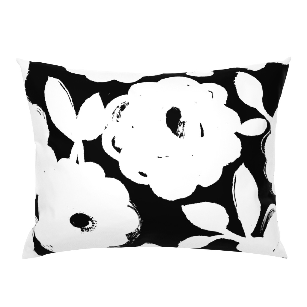 Campine Pillow Sham featuring Painted Flowers-black and white-jumbo by ottomanbrim
