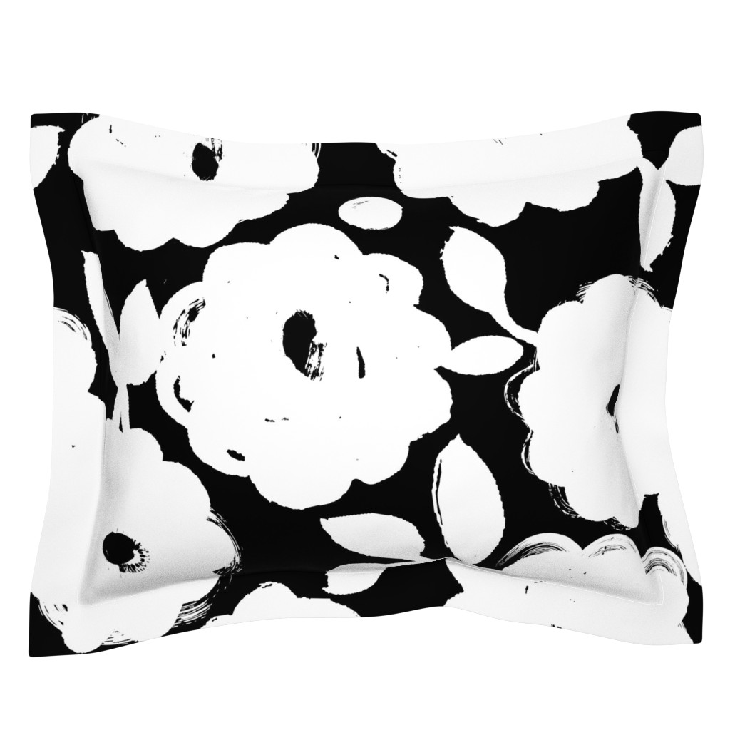 Sebright Pillow Sham featuring Painted Flowers-black and white-jumbo by ottomanbrim