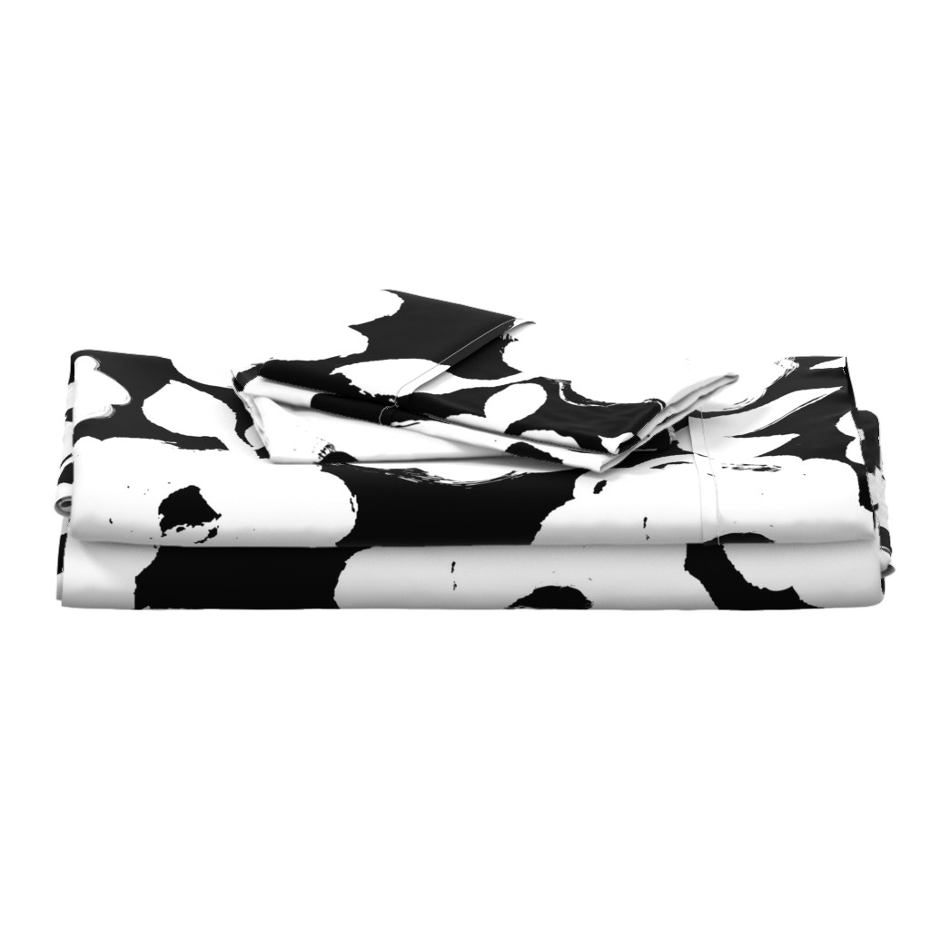 Langshan Full Bed Set featuring Painted Flowers-black and white-jumbo by ottomanbrim