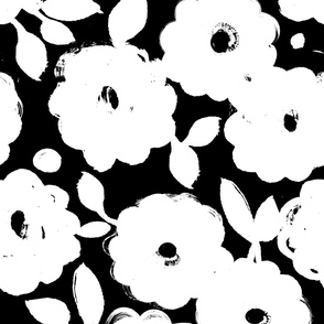 Painted Flowers-black and white-jumbo