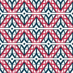 Patriotic Red White and Blue Diamond Chevron