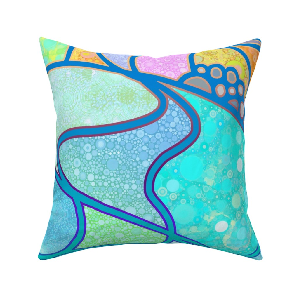 Catalan Throw Pillow featuring Cosmic Landscape Yard Quilt by elramsay