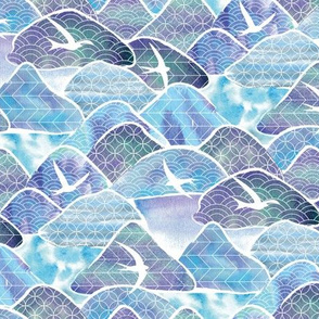 blue terns land abstract