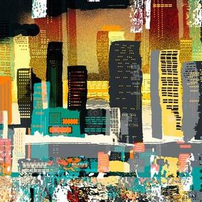 Sunset City Skyline (Grey)