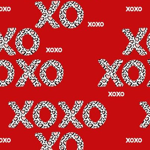 Sweet love and kisses leopard animal print xoxo text design valentines day red