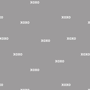 Sweet love and kisses xoxo minimal text design valentines day gray neutral nursery