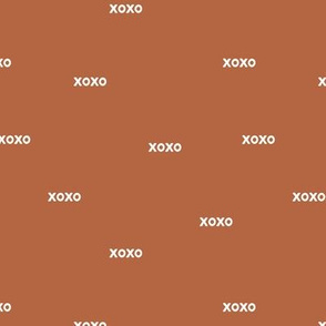 Sweet love and kisses xoxo minimal text design valentines day rust copper brown