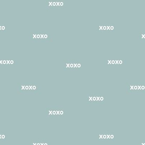 Sweet love and kisses xoxo minimal text design valentines day rust cool blue winter boys