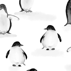Black and White Painterly Penguins