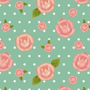 Pink roses and dots