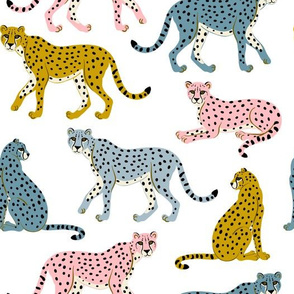 Pastel Cheetahs on White by Heather Anderson