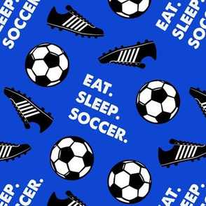Eat Sleep Soccer - Soccer ball and cleats - blue - LAD19