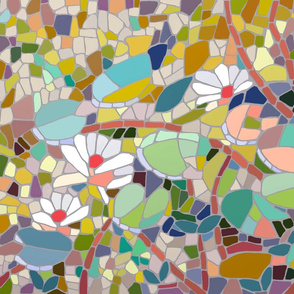 lily landscape abstract mosaic fat quarter