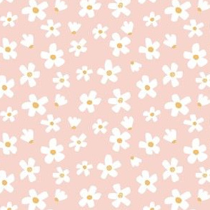 Ditsy micro // Daisy garden Pink and mustard