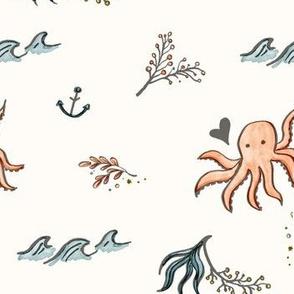 Nautical Octopus Doodle Cream