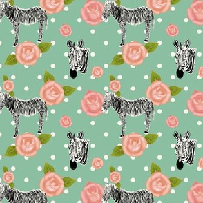 Zebras with pink roses