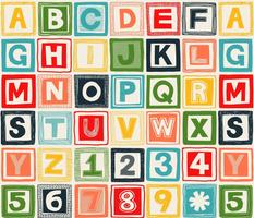 ABC square retro wood blocks