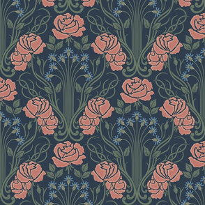 Edgewater Damask Art Nouveau Floral: Navy and Copper Pink