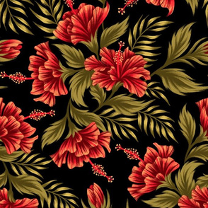 Hibiscus Floral - Red Black