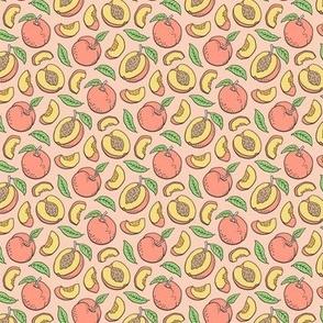 Peaches Peach Fruits on Peach Tiny Small 1 inch