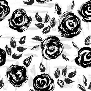 Brushstroke Roses Black on White
