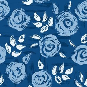 Classic Blue Brushstroke Roses