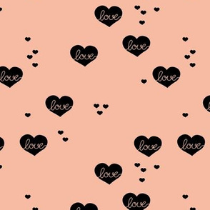 Little love & hearts valentine romance apricot black