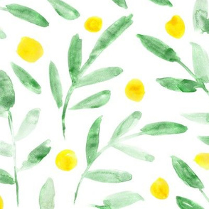 Watercolor green leaves with yellow dots ★ painted leaf pattern for modern home decor, bedding, kitchen, nursery
