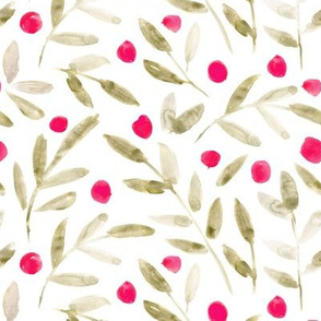 Sweet leaves with pink dots ★ watercolor leaf pattern for modern home decor, bedding, nursery