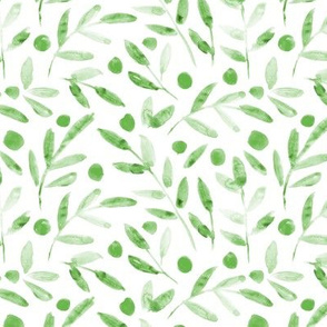 Ditsy jade green watercolor leaves - painted jungle