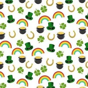 SMALL - st patricks day fabric - leprechaun fabric, pot of gold, lucky fabric, luck of the irish fabric, rainbow fabric - white