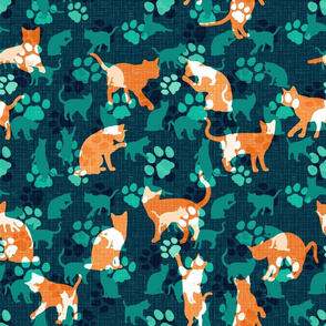 Cats and Paws, green and orange