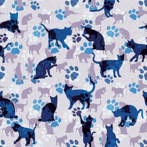 Cats and Paws, lavender-blue
