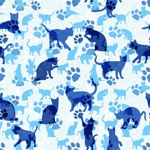 """Cats and Paws, light-blue, 18"""""""