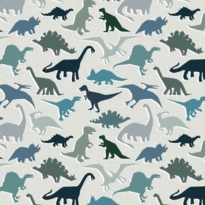 dinosaurs in soft blues and greys