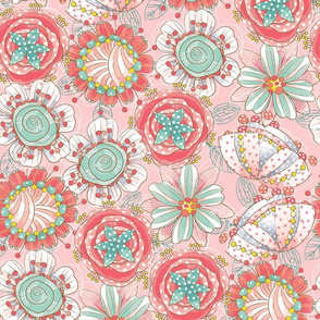 Funky Abstract Floral-pink-large