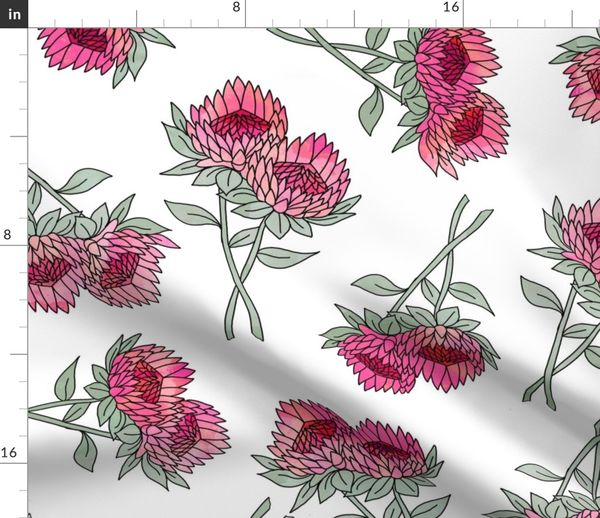 Large Protea Flower Fabric Home Decor Spoonflower