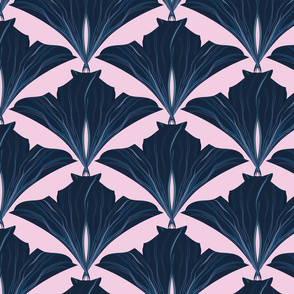 classical blue leafs dusty pink