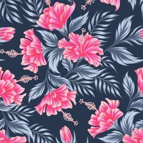Hibiscus Floral - Dark Grey Pink