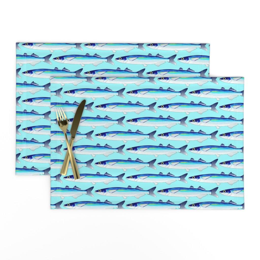 Lamona Cloth Placemats featuring Jacksmelt on light blue cyan by combatfish