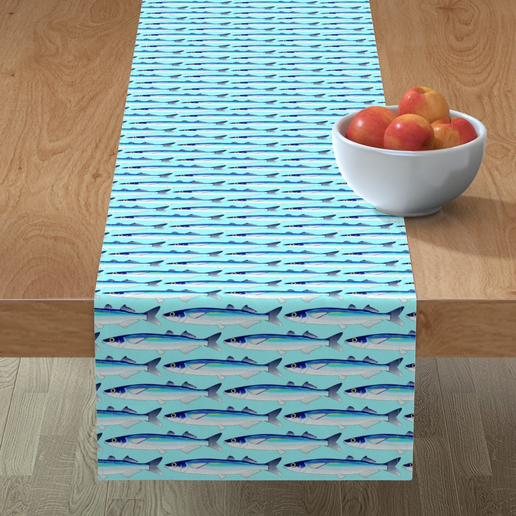 Minorca Table Runner featuring Jacksmelt on light blue cyan by combatfish