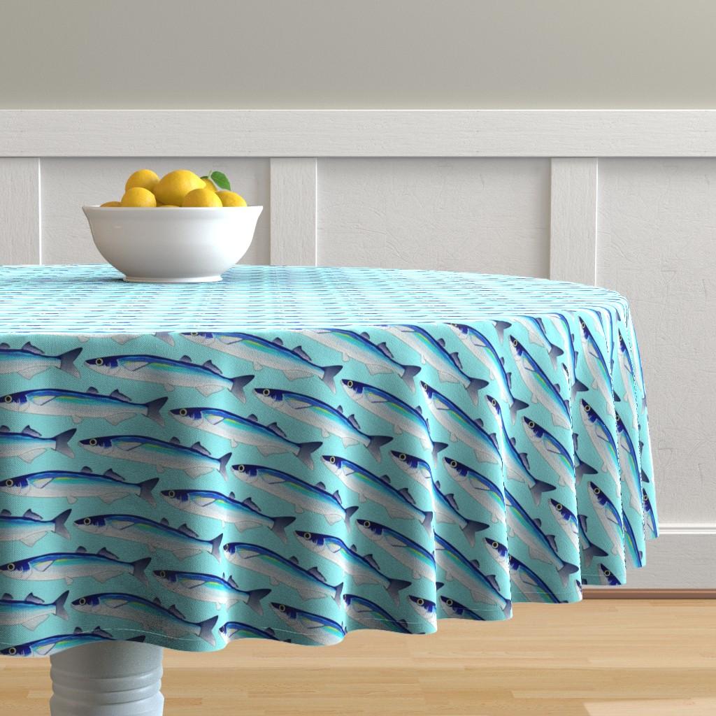 Malay Round Tablecloth featuring Jacksmelt on light blue cyan by combatfish