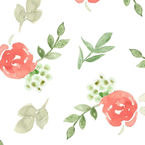 Coral Watercolor Large Floral Pattern