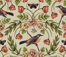 In The Garden - Nature Pattern w/ Birds, Flowers & Moths