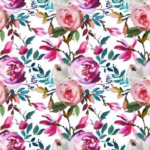 Spring Pink Teal Vibrant Blooms Floral